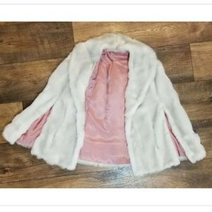Vtg Faux Fur Union Made lined cape wrap shawl coat